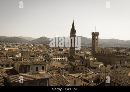 Italy, Florence - May 18 2017: the view of Florence roofs from Palazzo Vecchio in a sunny day on May 18 2017 in - Stock Photo