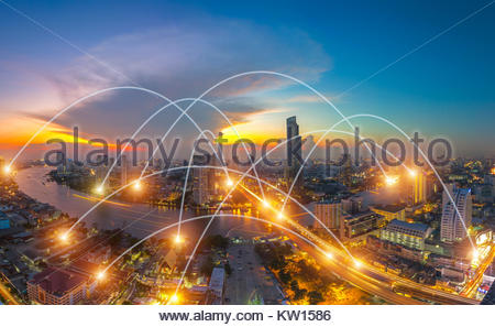 city scape and network connection concept - Stock Photo