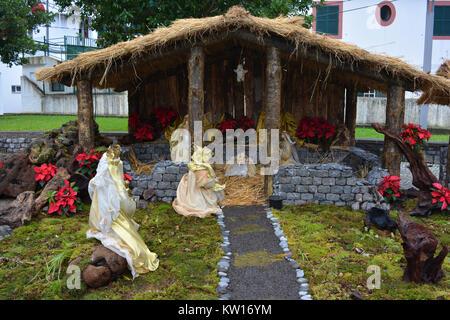 A nativity scene, or presepio, in Sao Vicente, Madeira, Portugal - Stock Photo