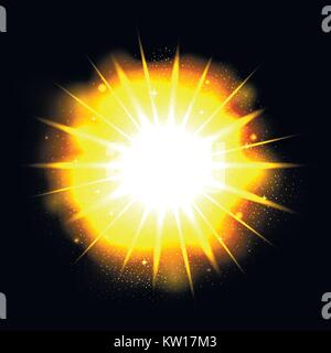 Powerful bright explosion - Stock Photo