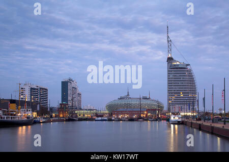 'Neuer Hafen' in Bremerhaven at the estuary of the River Weser in Northern Germany, with 'Klimahaus', Atlantic Hotel - Stock Photo