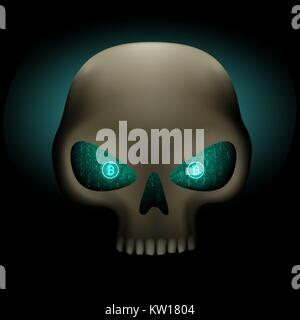 Crypto hacker skull with bitcoin blue binary code eyes on dark background. Cyber crime hacking illustration. Money - Stock Photo
