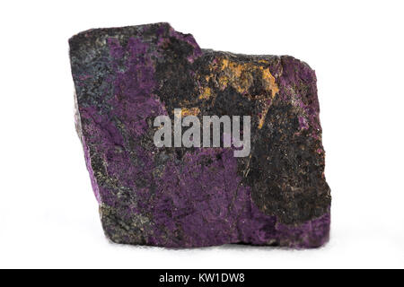 Purpurite mineral on white background. - Stock Photo