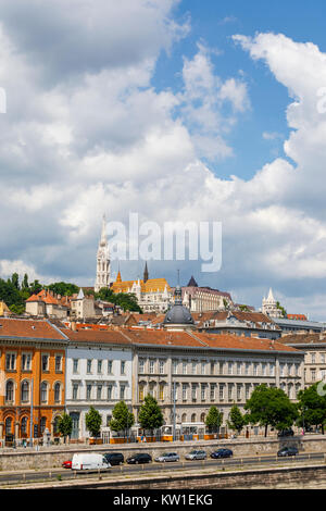 View of Matthias Church and Fisherman's Bastion on the skyline in the Castle district of Buda, Budapest, capital - Stock Photo