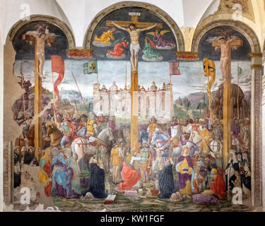 The Crucifixion by Giovanni Donato da Montorfano (c.1460-1502/03), a 1495 fresco in the refectory of the Monastery - Stock Photo