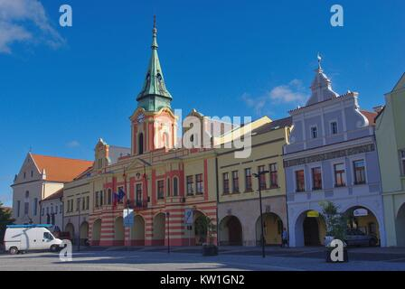 Main Square and Town Hall in Mělník, Czech Republic - Stock Photo