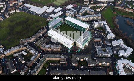 Edinburgh, UK - DECEMBER 23 : Hibernian FC Easter Road Football Stadium on December 23, 2017. Flying Over Aerial - Stock Photo