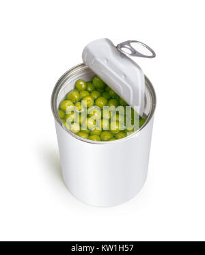 Preserved green peas vegetable in open metal tin. Closeup on white background. With clipping path - Stock Photo