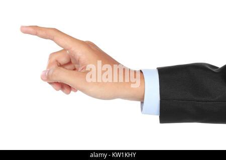 businessman hand pushing virtual screen - Stock Photo