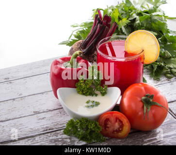 Red vegetables mix juice - Stock Photo