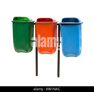 Three trash bin in different colors on a park - Stock Photo