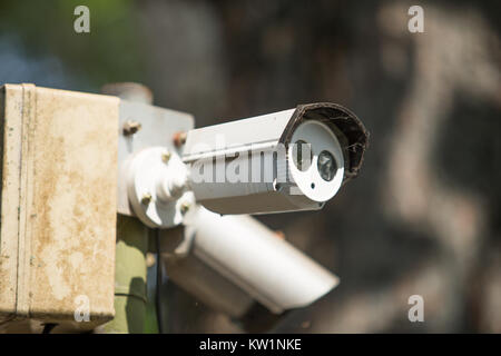 A set of cctv camera on outdoor - Stock Photo
