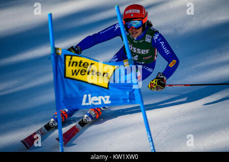 Lienz, Austria. 29th Dec, 2017. Frederica Brignone of Italy competes during the FIS World Cup Ladies Giant Slalom - Stock Photo