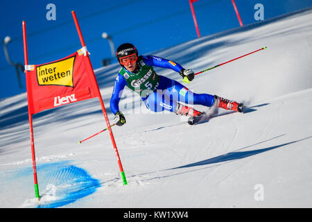 Lienz, Austria. 29th Dec, 2017. Sofia Goggia of Italy competes during the FIS World Cup Ladies Giant Slalom race - Stock Photo