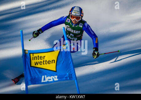 Lienz, Austria. 29th Dec, 2017. Manuela Moelgg of Italy competes during the FIS World Cup Ladies Giant Slalom race - Stock Photo