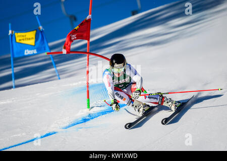 Lienz, Austria. 29th Dec, 2017. Lara Gut of Switzerland competes during the FIS World Cup Ladies Giant Slalom race - Stock Photo