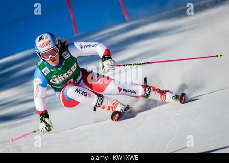 Lienz, Austria. 29th Dec, 2017. Melanie Meillard of Switzerland competes during the FIS World Cup Ladies Giant Slalom - Stock Photo