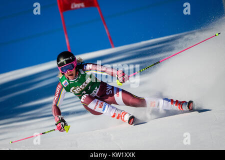 Lienz, Austria. 29th Dec, 2017. Frida Hansdotter of Sweden competes during the FIS World Cup Ladies Giant Slalom - Stock Photo
