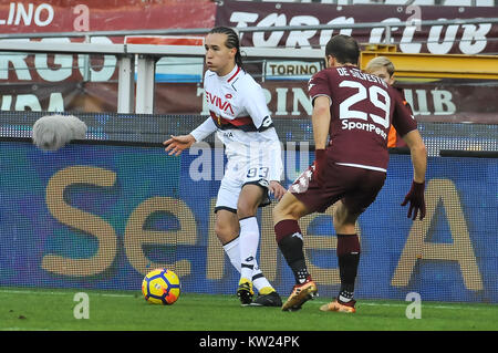 Turin, Italy. 30th Dec, 2017. Diego Laxalt (Genoa CFC) during the Serie A football match between Torino FC and Genoa - Stock Photo