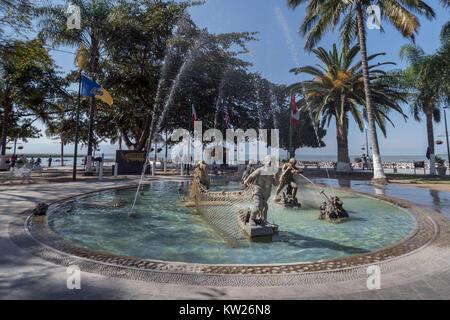 Fuente de Pescadores, Malecon, Chapala, Mexico - Stock Photo