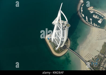 Dubai, UAE - November 25, 2012: View of the luxury beach of Dubai and Burj al-Arab, in Dubai,UAE. The Bur is the - Stock Photo