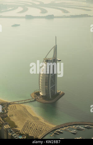 Dubai, UAE - November 25, 2012: View of the luxury beach of Dubai and Burj al-Arab, in Dubai,UAE. The Bur is the - Stock Photo