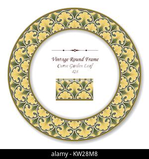 Vintage Round Retro Frame of Botanic Curve Garden Leaf - Stock Photo
