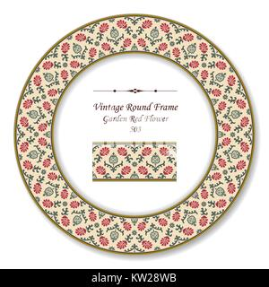 Vintage Round Retro Frame of Botanic Garden Red Flower - Stock Photo