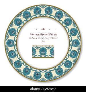 Vintage Round Retro Frame Botanic Point Leaf Flower - Stock Photo