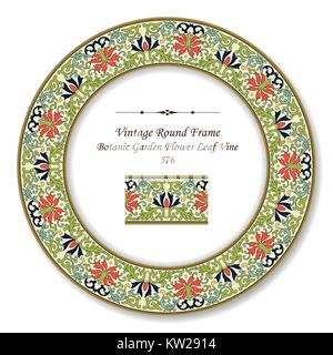 Vintage Round Retro Frame Botanic Garden Flower Leaf Vine - Stock Photo