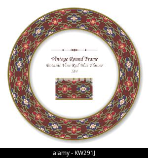 Vintage Round Retro Frame Botanic Vine Red Blue Flower - Stock Photo