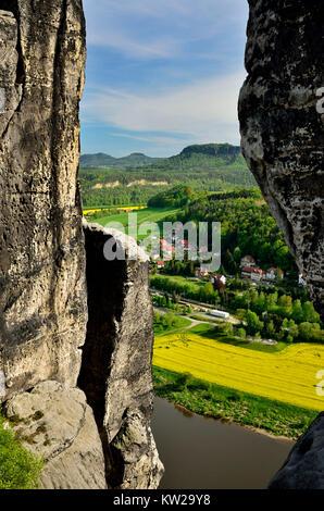 Elbsandsteingebirge, view of the bastion bridge on Rathen and lily stone, Aussicht von der Basteibrücke auf Rathen - Stock Photo