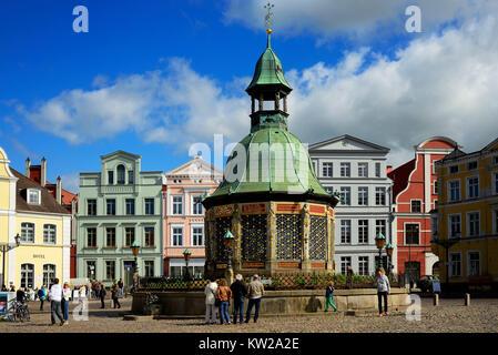Wismar, marketplace, water art , Marktplatz, Wasserkunst - Stock Photo