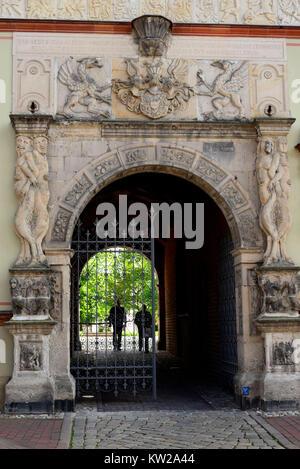 Wismar, main entrance of the Renaissance construction prince's court now district court, Portal des Renaissancebau - Stock Photo
