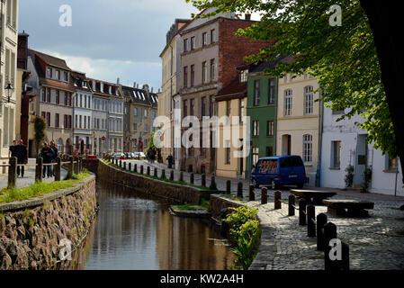 Wismar, fresh pit, medieval artificial town watercourse, Frische Grube, mittelalterlicher  künstlicher Stadtwasserlauf - Stock Photo