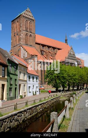 Wismar, fresh pit with Saint Nikolai Kirche, Frische Grube mit Sankt Nikolai Kirche - Stock Photo