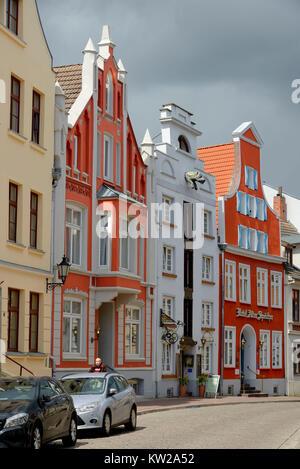 Wismar, reconstructed old buildings in Bohrstrasse, hotel of old memories, rekonstruierte Altbauten in der Bohrstrasse, - Stock Photo