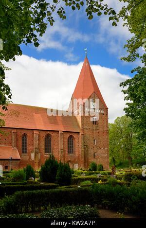 Baltic island Poel, in Romance style Gothic island church in village Kirch , Ostseeinsel Poel, romanisch gotische - Stock Photo