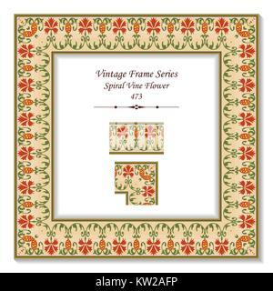 Vintage 3D frame of Retro Botanic Spiral Vine Flower - Stock Photo