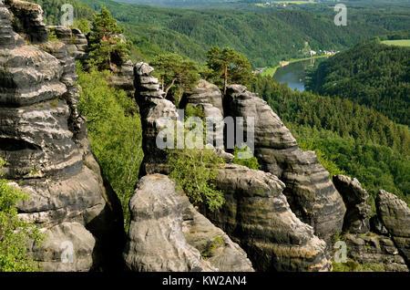 Elbsandsteingebirge, rock formations in the Schrammsteinen about the Elbtal, Felsformationen in den Schrammsteinen - Stock Photo