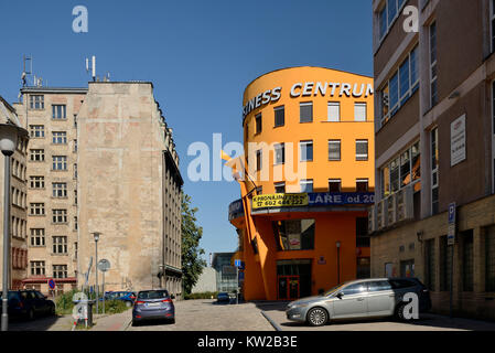 Liberec, old building and new building in the street Reznick??, Altbau und Neubau in der Strasse Reznická - Stock Photo