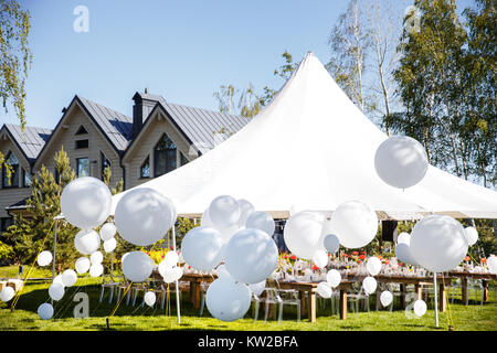 Wedding tent with large balls. Tables sets for wedding or another catered event dinner. : large wedding tent - memphite.com