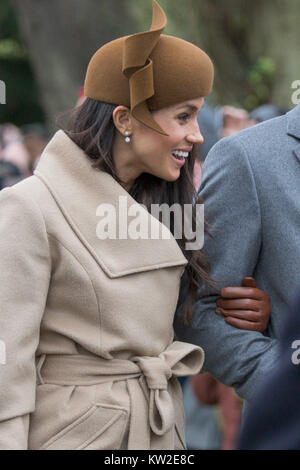 Picture dated December 25th 2017 shows  Meghan Markle and Prince Harry at the Christmas Day morning church service - Stock Photo