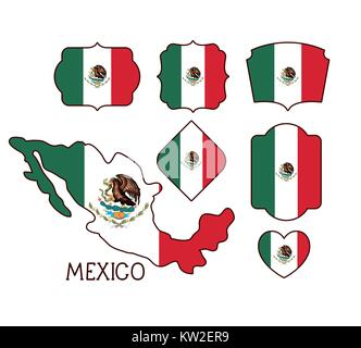mexico poster with map and insignia templates with mexican flags in colorful silhouette - Stock Photo