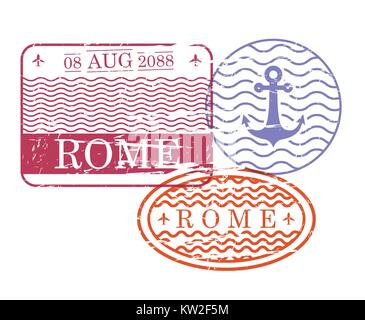 ship travel stamps of rome in colorful silhouette - Stock Photo