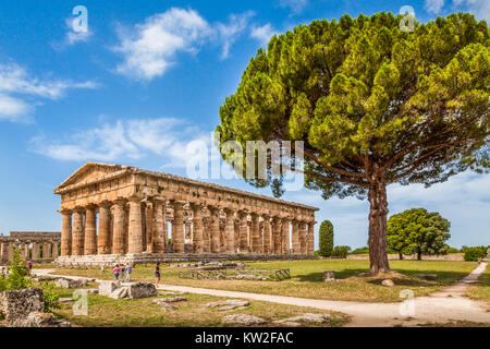 Temple of Hera at famous Paestum Archaeological UNESCO World Heritage Site, Campania, Italy - Stock Photo