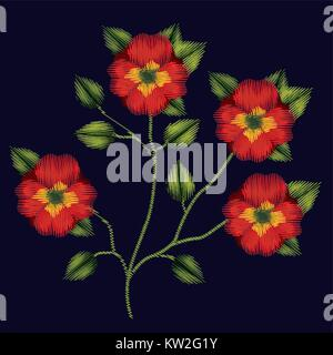 colorful pansy flowers plant set embroidery in dark blue background - Stock Photo