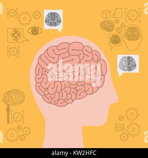 human head silhouette side view with brain in yellow background - Stock Photo