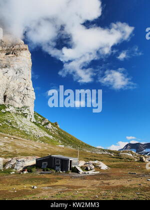 Trapper hut, Gnålodden, Hornsund, Svalbard, Norway - Stock Photo
