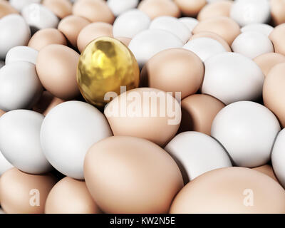 Golden egg standing out among brown and white eggs. 3D illustration. - Stock Photo